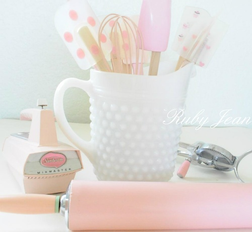 Oh how I LOVE being a Girl...  I LOVE...ALL things Feminine..  Especially...The Color...  PINKKitchens Supplies, Polka Dots, Pale Pink, Kitchens Accessories, Glasses Pitcher, Kitchens Utensils, Pink Kitchens, Milk Glasses, Kitchens Tools
