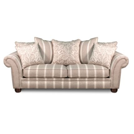 I like the shape of this one. White/grey/beige stripped couch with rolled arms.