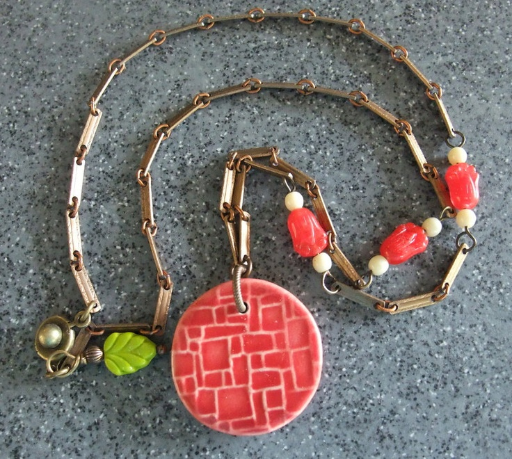 Red Necklace from Cilla Watkins/Tell Your Girlfriends with a red ceramic bead from Marsha Neal Studios