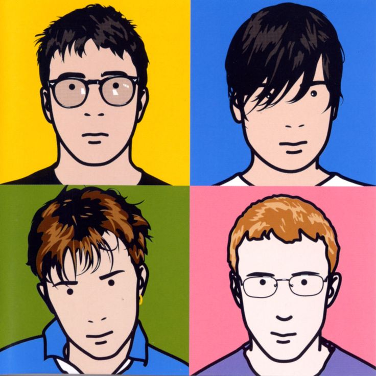 The first use of the four squares each containing a band member, first used by Blur in their Greatest Hits Album