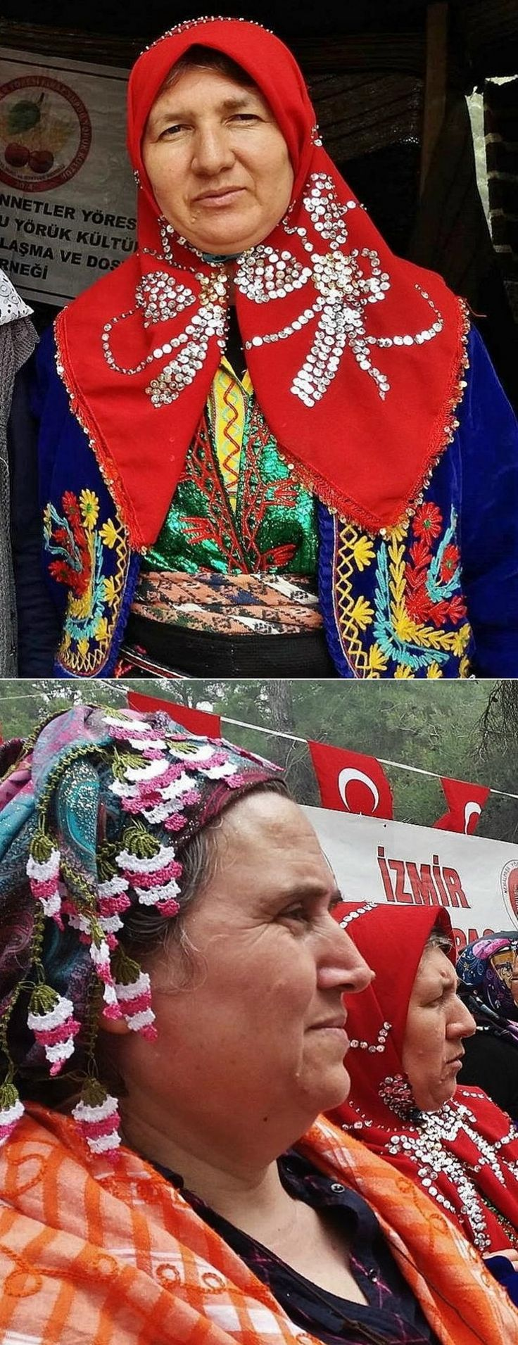 Two headscarves as worn by Yörük women from the Gördes district (110 km northeast of Manisa town). Top: a 'pullu yazma' (headscarf adorned with sequins). Bottom: a 'oyalı yazma' (headscarf edged with Turkish lace). Recent picture: at a Yörük festival in 2015.