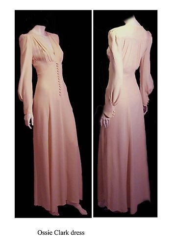 Ossie Clark 1970s. Pale rose long sleeved floor length gown.  I am in love.