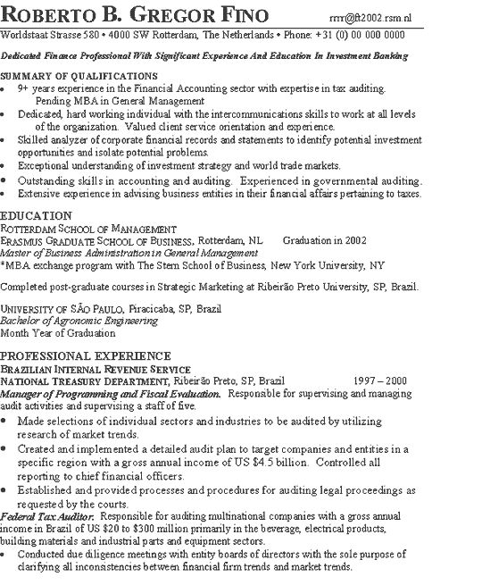 investment banker resume example - Exchange Administration Sample Resume