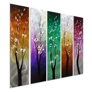 Pure Art Trees Through the Seasons - Contemporary Colourful Metal Wall Art - Purple Green Yellow Hanging Sculpture Set of 5 Square Panels - Tree Decoration of 34    I love the look of metal flower wall art.  It is unique as it combines metal and florals to make beautiful patterns and paintings.  You can find these beautiful wall art sculptures and aluminum metal wall art in beautiful homes all over the world.  Combine this with other modern wall art to create all kinds of home decoration…