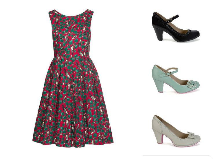 #Whosthatgirl #vintagedress with #Cristofolishoes #spring2015. From the top: black shiny July with little flowers, aqua July with rose and white Emily with bow.