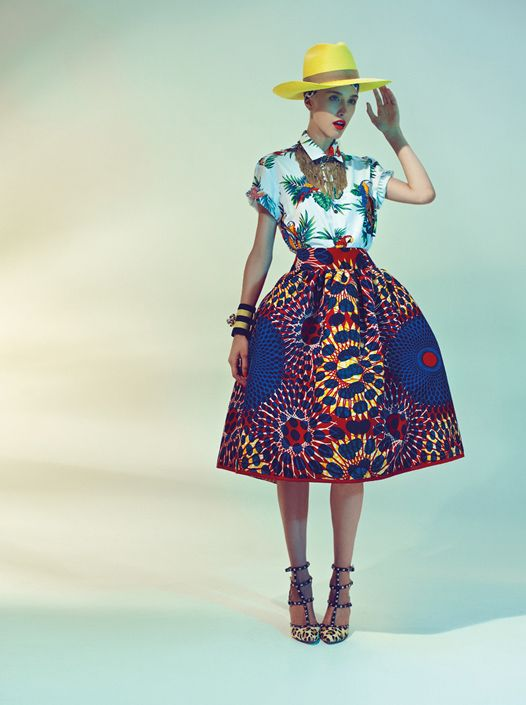 Stella Jean Spring 2013 LookBook--- love this skirt and the parrot shirt