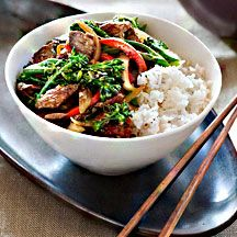 Lemongrass and chilli beef stir-fry. Ready in a flash - lemongrass and lime add terrific tangy flavours to lean rump steak.