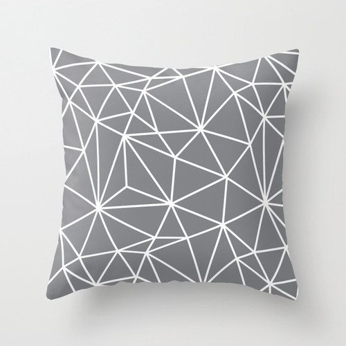 Geometric Throw Pillow Cover - Grey Polygon Pattern