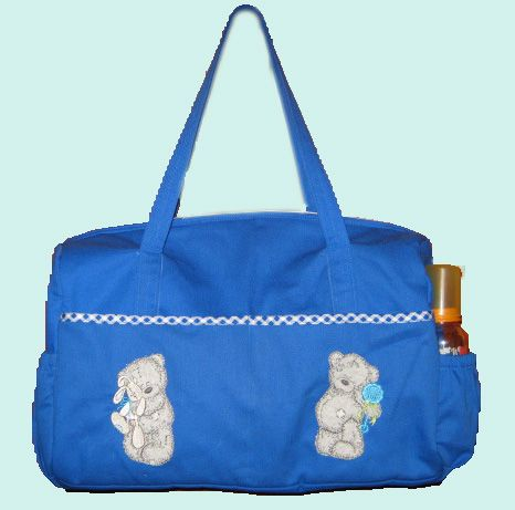 Baby bag with tatty bear embroidery designs. Used nice blue fabric with check trimmings