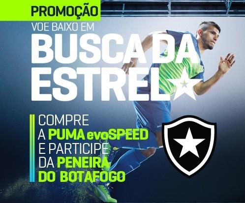 Quer participar de uma peneira do Botafogo? Na compra de uma chuteira da linha evoSPEED, você pode viver o sonho de entrar em campo atrás da escalação e vestir a estrela do Botafogo. http://brasil.puma.com/embuscadaestrela#peneira