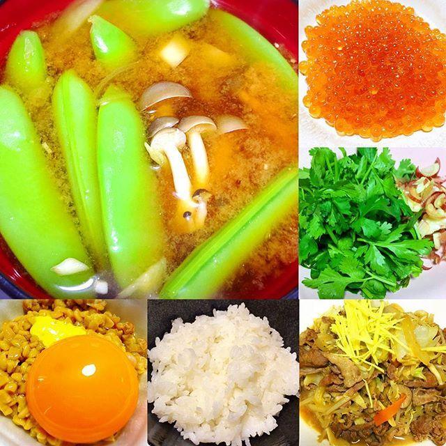 #おうちごはん #home#lunch #enjoy#cooking #yummy#japanese#food #rice 🌾 miso#soup natto,egg #love#coriander #大好き#いくら #肉#野菜 炒め #パクチー  #納豆#ごはん スナップエンドウのお味噌汁 具沢山にして栄養アップ↑↑ greenpeace#balance#up #簡単#料理#ランチ 一番のごちそうは 半額でゲットした、いくらちゃん♥️ #おいしい たべすぎたなぁ #ごちそうさまでした #雨 だし、たまにはお家にいよう #food#foodporn #foodie#photooftheday
