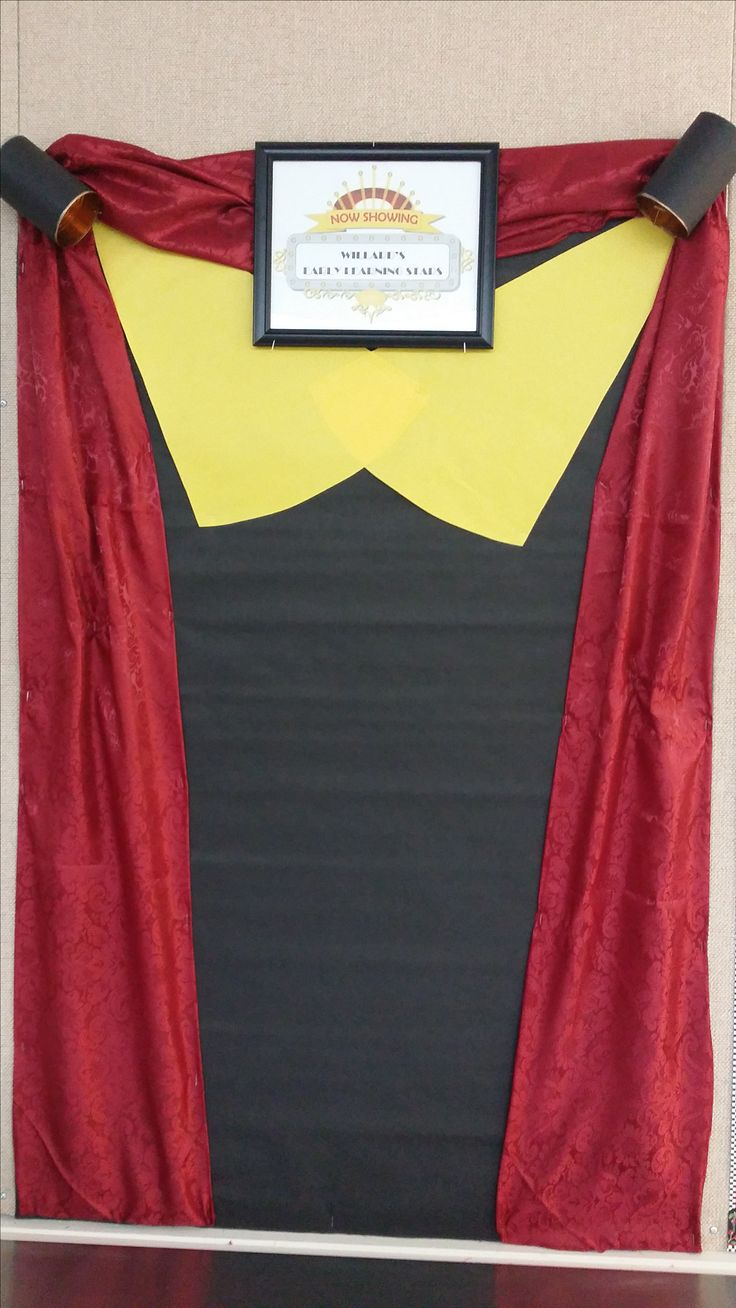 """My $3 Dollar Tree employee recognition """"now showing"""" or  """"starring"""" bulletin board. 2 Dollar Tree table runners and a frame. Two empty tomato  cans. This theater  inspired board was fun and simple."""