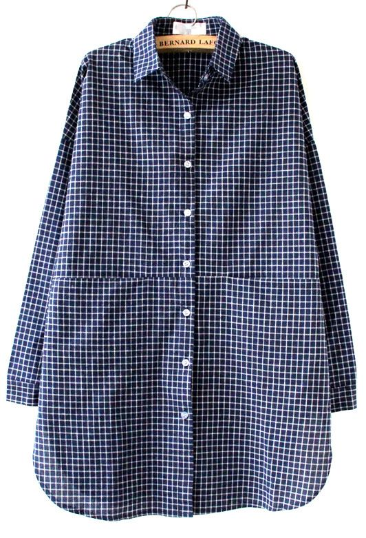 Blue White Plaid Lapel Pocket Loose Blouse - Sheinside.com
