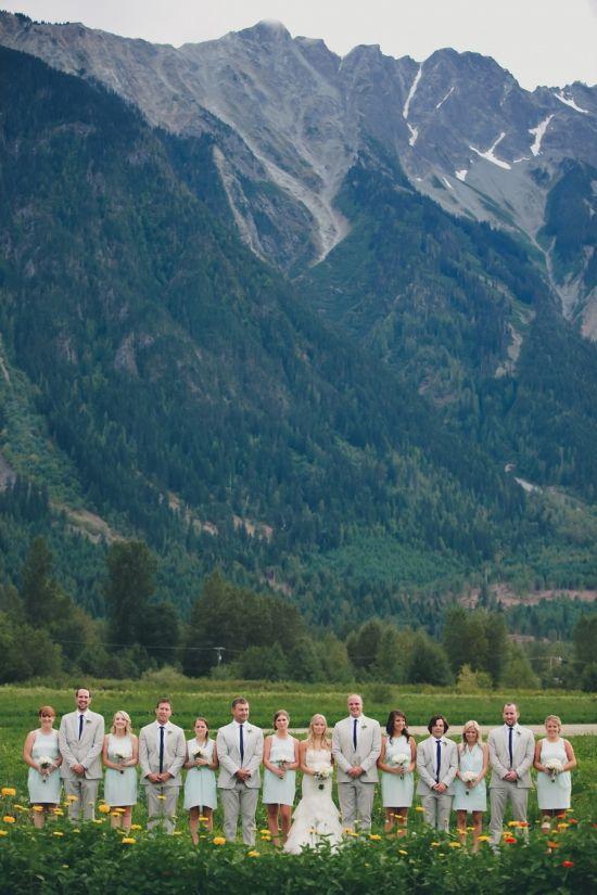 hello beautiful mountains and wedding party http://www.weddingchicks.com/2014/02/12/mimi-aidans-elegant-north-arm-farm-wedding/