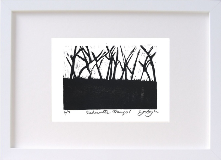 Lino print inspired by Mungo National Park, Aus.