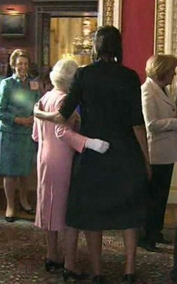 I dare you....Another:  This was such a big deal! Michelle dared to touch The Queen!