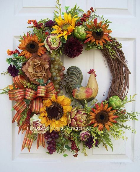 Tuscan rooster wreath http://www.timelessfloralcreations.com/ https://www.facebook.com/timelesswreaths