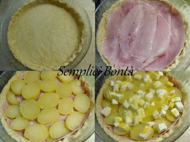 Quiche with ham, potatoes and mozzarella - Torta salata con prosciutto , patate e mozzarelle