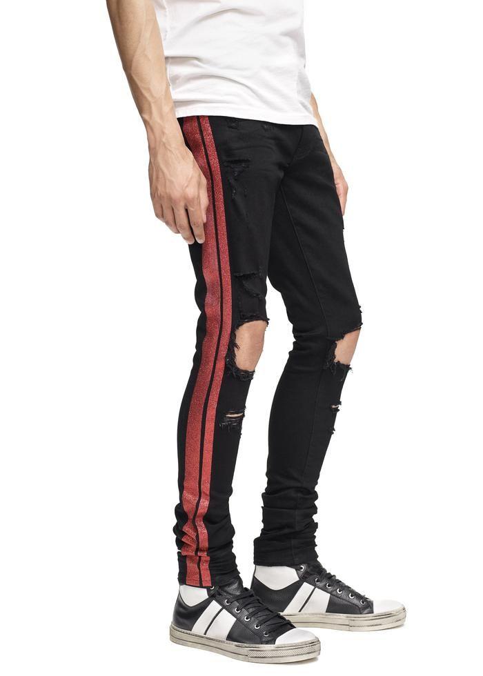 9b00a8b79 Glitter Track Jean Black/Red in 2019 | Skinny jeans | Black jeans ...