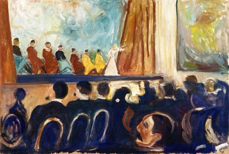 CABARET (Edvard Munch)  Cabaret es una palabra de origen francés cuyo significado original era «taberna», pero que pasó a utilizarse internacionalmente para denominar salas de espectáculos, generalmente nocturnos, que suelen combinar MÚSICA , DANZA  y CANCIÓN , pero que pueden incluir también la actuación de humoristas, ilusionistas, mimos y muchas otras artes escénicas.  Se distinguen de otros locales de espectáculos, entre otras cosas, porque tienen un bar, cuando son pequeños, y un bar y…
