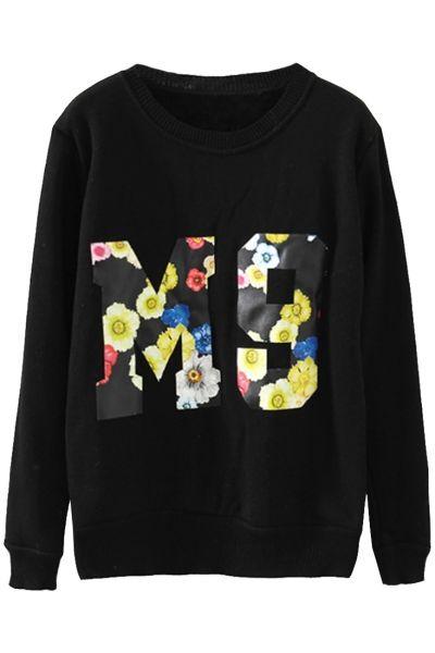 Black Floral Trim Sweatshirt - OASAP.com  Free Shipping+$15 Off Coupon!