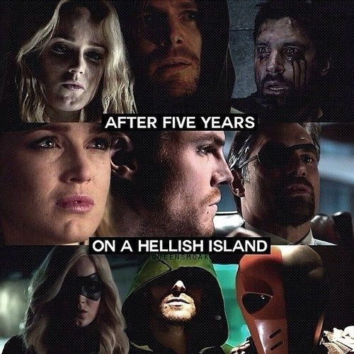 Arrow - Sara Lance, Oliver Queen and Slade Wilson