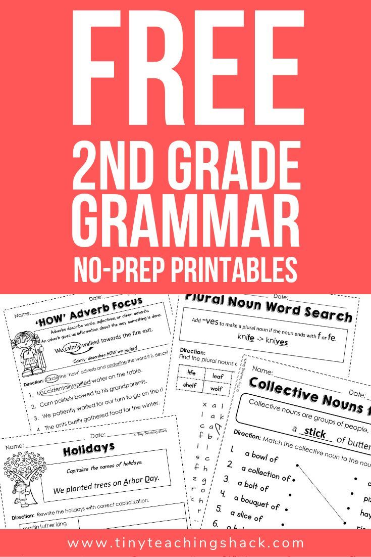 free second grade grammar no-prep printables covering Common Core Language  Standards   2nd grade worksheets [ 1102 x 735 Pixel ]