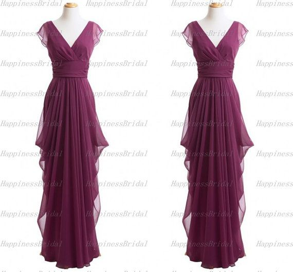 Custom A-line V-neck Cap Sleeves Floor-length Chiffon Long Bridesmaid Dress Long Prom Dress Formal Evening Dress Party Dress 2014 With Sash