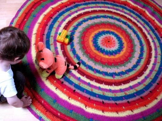 Bright Colored Crochet Mandalas Colorful Wool Rug