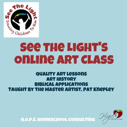 Have you tried See the Light's online art class yet? http://hopehomeschoolconsulting.com/blog/see-the-lights-online-art-class-2/