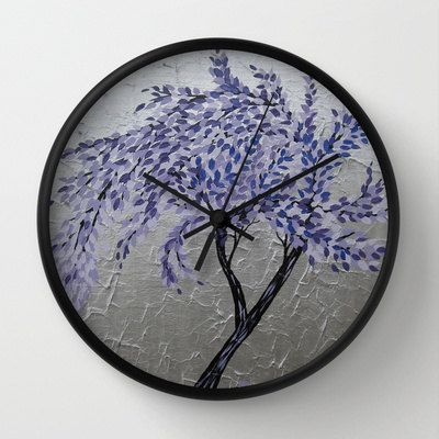 clock wall clocks purple tree of life design with by SuchFlair