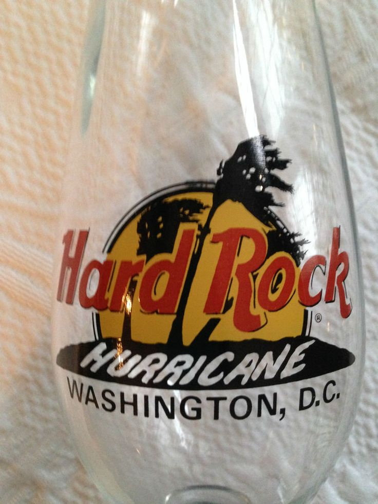 RARE HARD ROCK HURRICANE CAFE WASHINGTON DC RECIPE 24oz TALL COLLECTOR GLASS HTF #HARDROCKCAFE
