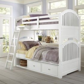 White Beach House Adair Bunk Bed ♥ Discover the season's newest designs and inspirations by Rosenberry. | Visit us at http://kidsbedroomideas.eu/ #furnituredesign #kidbedroom #kidsroom #kidfriendly #bedroomdecor