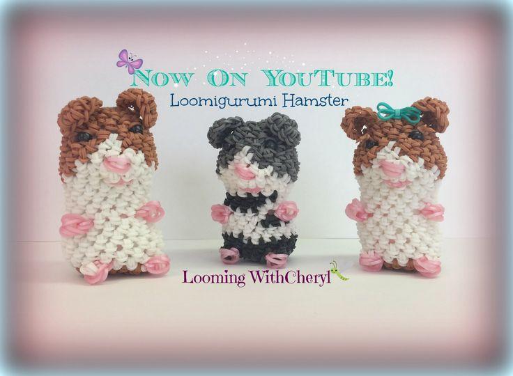Rainbow Loom Hamster Loomigurumi Amigurumi Hook Only хомяк Лумигуруми Animals, figures, hook only, pattern, tutorial by Looming With Cheryl