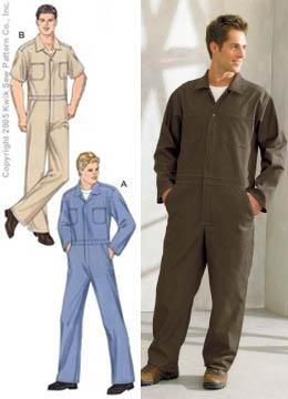 Kwik Sew Men's Coveralls Pattern |  mittel bis feste Stoffe wie denim, twill, poplin, chino. The Men's coveralls are sized to be worn over clothes. They have extended shoulders, hidden front zipper and snap at top, inset waistband, tucks on the back, yoke, collar, side pockets, breast and back patch pockets, and side slits to access inside pockets. Kurz-/Langarm. Sizes S - M - L - XL - XXL.