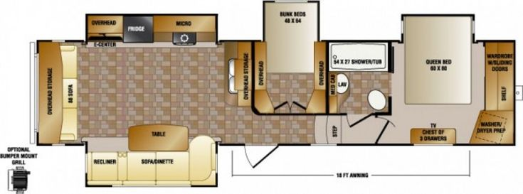 5th wheel mid bunkhouse floor plans
