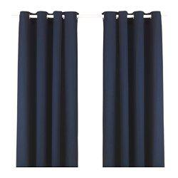 MERETE, Curtains, 1 pair, blue cotton velvet