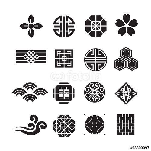 벡터 일러스트(편집용 파일):Asian ornament icon, korean, chinese, japanese vector set