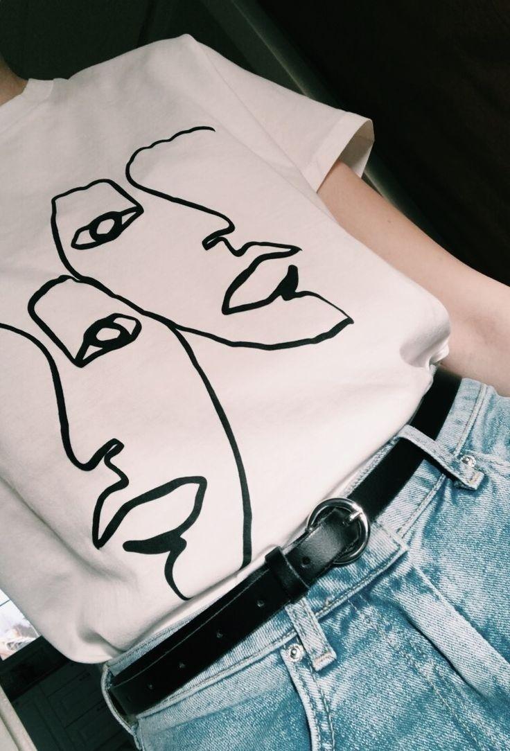 PUDO XHM 2018 Twin Art Strichzeichnung Damen Aesthetic White T Shirt Tumblr Grunge …   – Hipster Style