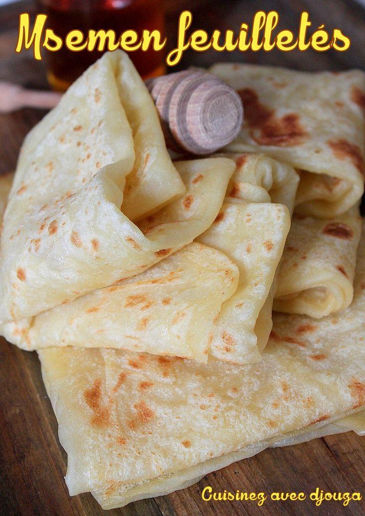 Msemen recette facile (feuilletée et sucrée) de Grande Kabylie. Une pâte étalée à l'huile, étirée finement et pliee. Les msemens marocains sont différents