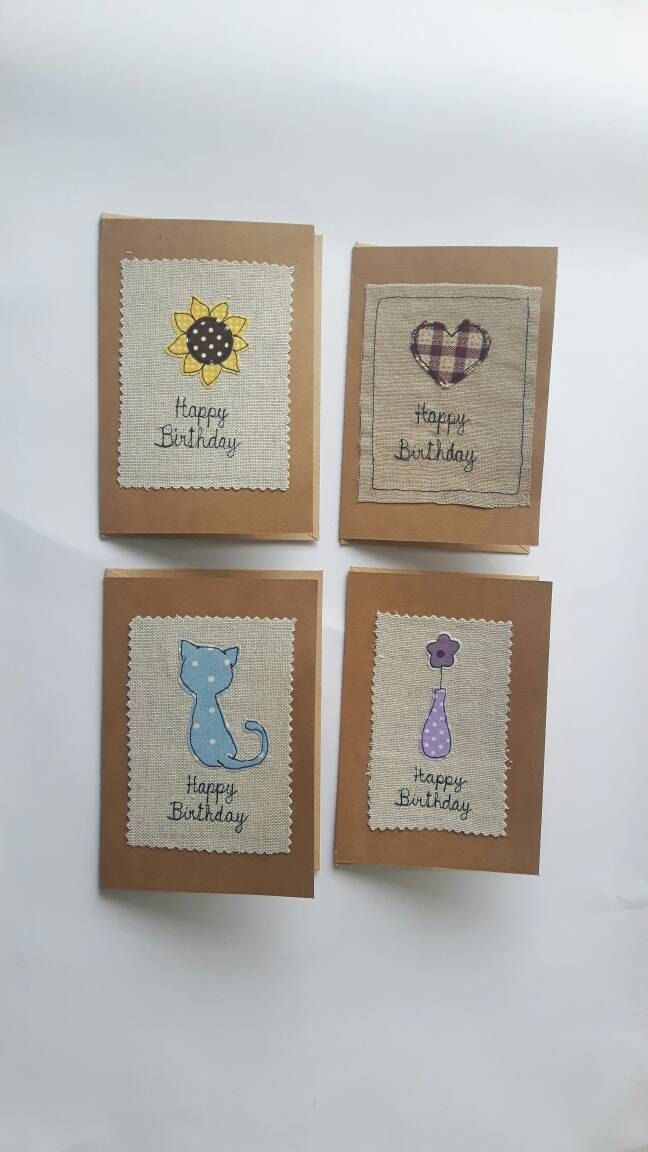 Happy Birthday fabric Greeting card with sunflower flower heart cat applique free motion embroidery, textile art, FREE UK POSTAGE, GBP3.00 by CurlyEmmaEmbroidery on Etsy