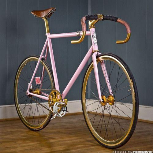 ...a pink/golden racing bike.