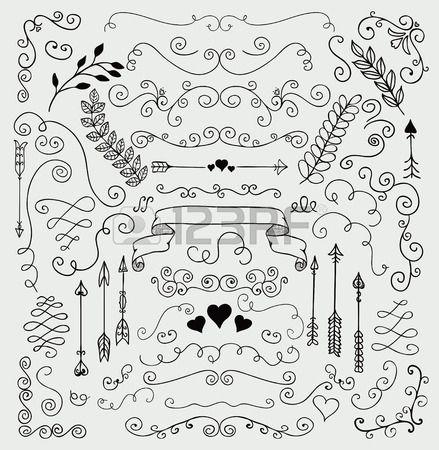 Vector Zwarte Hand geschetste Rustic Floral Doodle Wervelingen takken design…