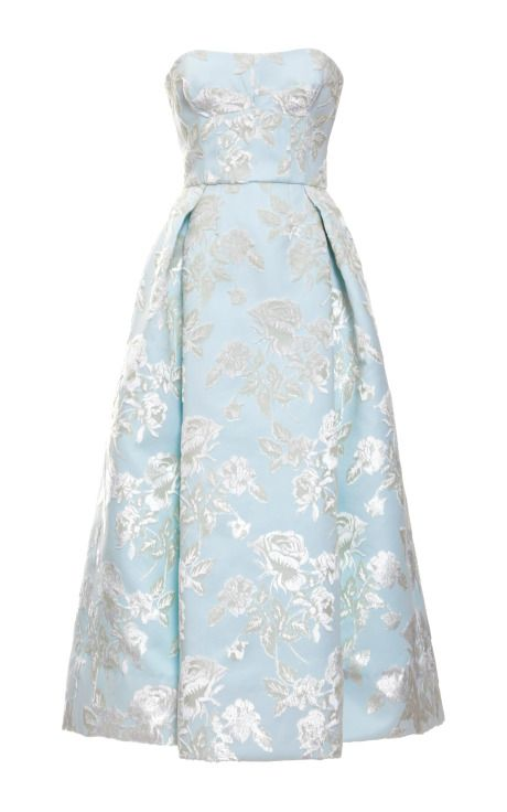 Shop Bonded Duchesse Big Flowers Strapless Dress by Rochas for Preorder on Moda Operandi