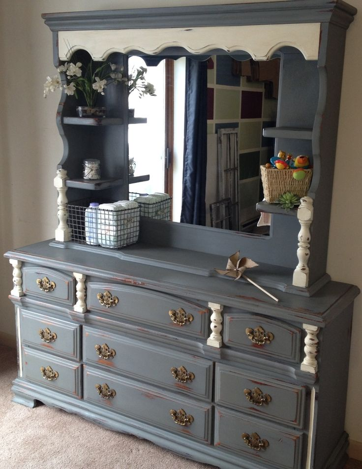 Vintage buffet-style dresser (sds- have some very similar would love to change to this color grey/blue???)