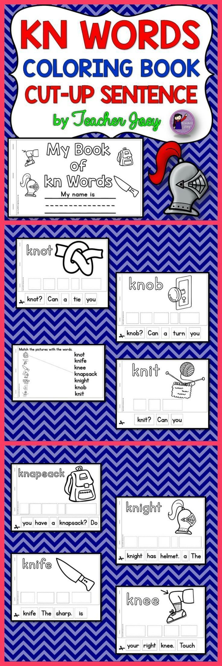 This alphabet coloring book is for the digraph KN. The coloring pages have images and words plus simple sentences for beginning readers to cut, put in order, and read. I also included a page in which your students can match the image with the word.