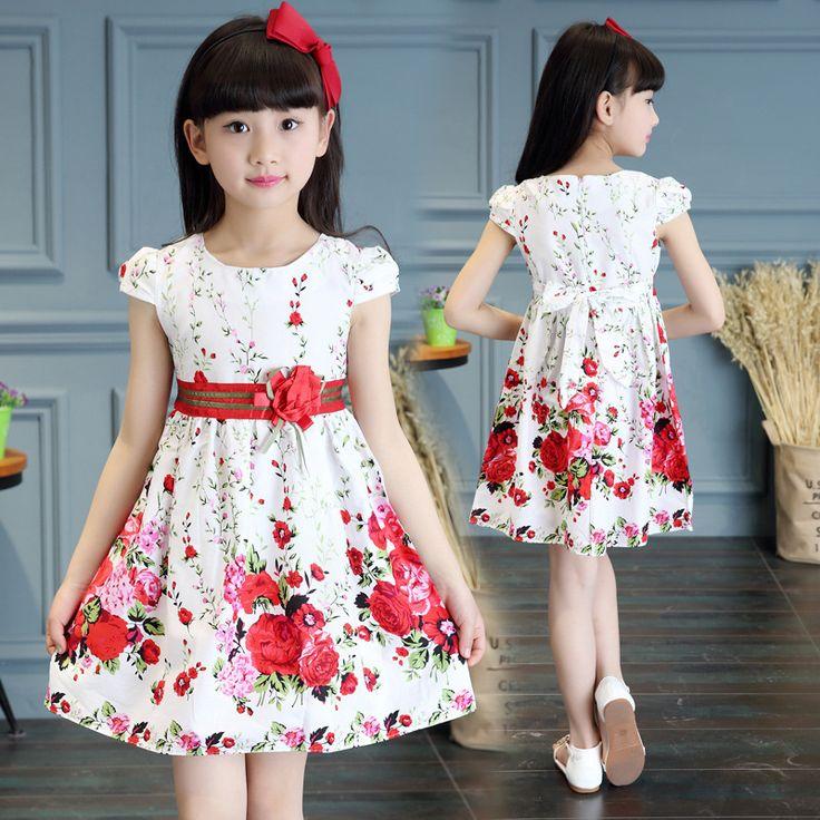 Princess Party Dresses For Girls Wedding Dresses Floral Print Kids Prom Dresses Summer 2017 Sundress 4 6 8 10 12 Years Vestidos #Affiliate