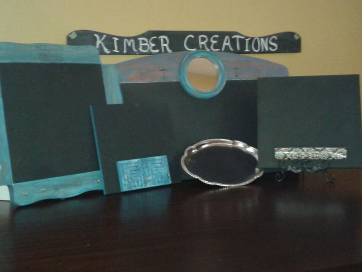 Already custom crafted chalkboards made from repurposed material.