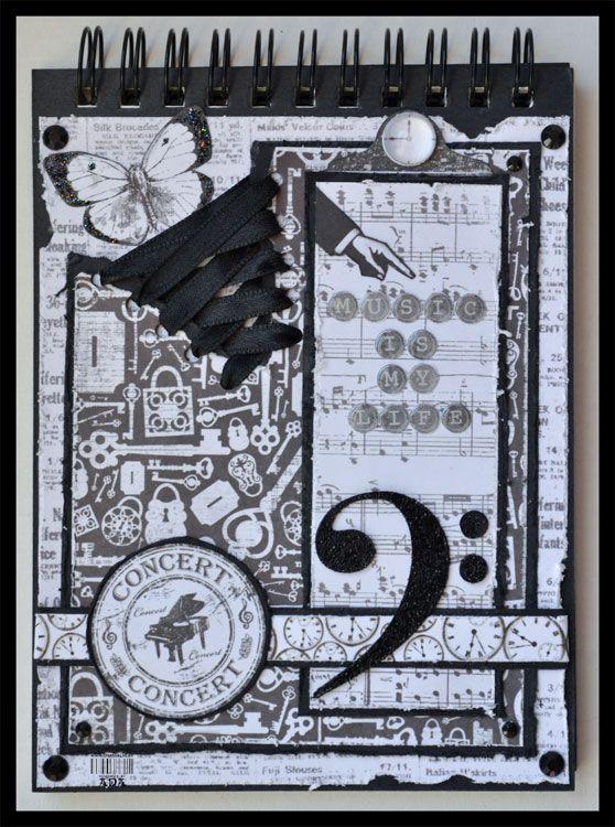 Creativa4all » SCRAPBOOKING: LIBRETA MUSIC IS MY LIFE Libreta, notebook, scrap, scrapbook, scrapbooking, black and white, music
