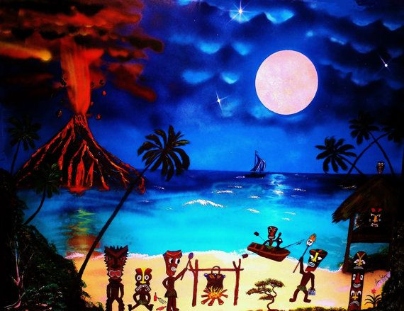 "Huge 30"" x 40"" Tiki Art Painting Tiki bar art painting. Beach art painting,  tropical Tiki art decor, polynesian art decor. Nautical decor"